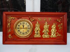 Tranh Đồng Hồ Gỗ Phúc Lộc Thọ dát vàng 81cm