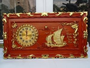 Tranh Đồng Hồ Gỗ Thuận Buồm Xuôi Gió dát vàng 88cm