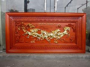 Tranh Gỗ Bát Mã - Mã Đáo Thành Công dát vàng 1m55