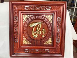 Tranh Gỗ Chữ Thọ Thư Pháp Dát Vàng 55cm