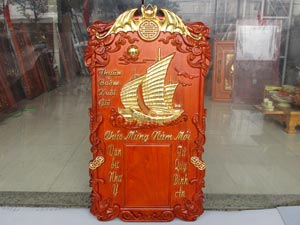 Tranh Gỗ Đốc Lịch Thuận Buồm Xuôi Gió Dát Vàng 76cm