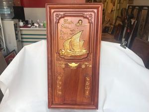 Tranh Gỗ Đốc Lịch Thuận Buồm Xuôi Gió dát vàng 81cm