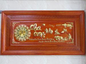 Tranh Gỗ Đồng Hồ Cha Mẹ Dát Vàng 1m27