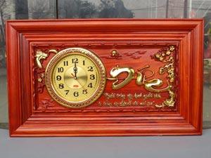 Tranh Gỗ Đồng Hồ Chữ Đức Dát Vàng 67cm