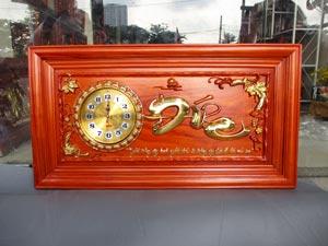 Tranh Gỗ Đồng Hồ Chữ Đức dát vàng 88cm