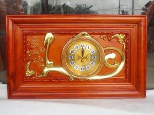 Tranh Gỗ Đồng Hồ Chữ Lộc dát vàng 67cm