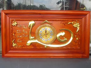 Tranh Gỗ Đồng Hồ Chữ Lộc thư pháp dát vàng 88cm - DG2285-1