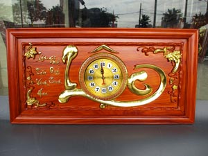 Tranh Gỗ Đồng Hồ Chữ Lộc dát vàng 81cm hàng kỹ