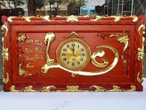 Tranh Gỗ Đồng Hồ Chữ Lộc Thư Pháp dát vàng 88cm