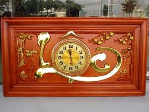 Tranh Gỗ Đồng Hồ Chữ Lộc dát vàng 88cm khung trơn