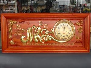 Tranh Gỗ Đồng Hồ Chữ Nhẫn dát vàng 1m08