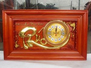Tranh Gỗ Đồng Hồ Chữ Phúc dát vàng 67cm