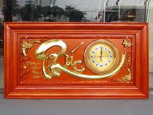 Tranh Gỗ Đồng Hồ Chữ Phúc dát vàng 88cm khung trơn