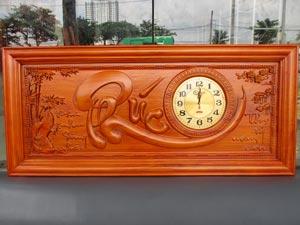 Tranh Gỗ Đồng Hồ Chữ Phúc PU 1m08