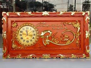Tranh Gỗ Đồng Hồ Chữ Phúc dát vàng 88cm