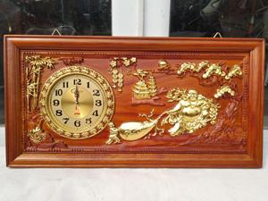 Tranh gỗ đồng hồ di lặc thếp vàng 81cm - 2191