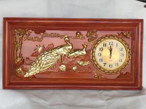 Tranh Gỗ Đồng Hồ Chim Công Phú Quý Cát Tường dát vàng 81cm