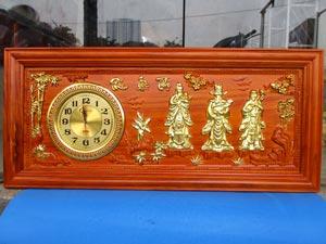 Tranh Gỗ Đồng Hồ Tam Đa - Phúc Lộc Thọ dát vàng 1m08