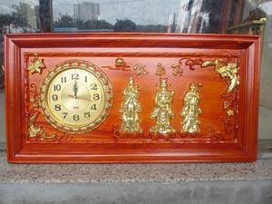 Tranh Gỗ Đồng Hồ Tam Đa - Phúc Lộc Thọ dát vàng 81cm