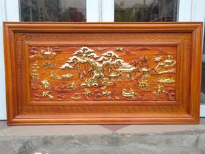 Tranh Gỗ Phong Cảnh Đồng Quê dát vàng 1m27