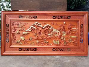 Tranh Gỗ Hương Phong Cảnh Đồng Quê Dát Vàng 1m55