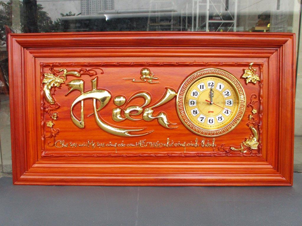 Tranh Gỗ Đồng Hồ Chữ Hiếu dát vàng 88cm