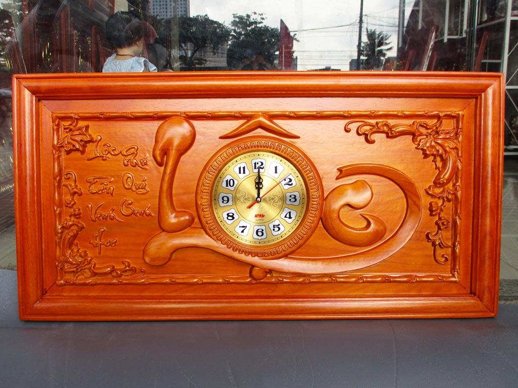 Tranh Gỗ Đồng Hồ Chữ Lộc PU 81cm Hàng Kỹ