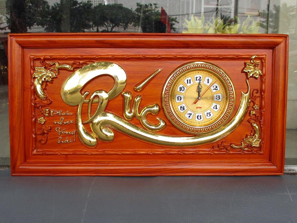 Tranh Gỗ Đồng Hồ Chữ Phúc dát vàng 81cm Hàng Kỹ