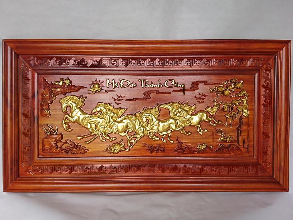 Tranh Gỗ Bát Mã - Mã Đáo Thành Công dát vàng 1m27
