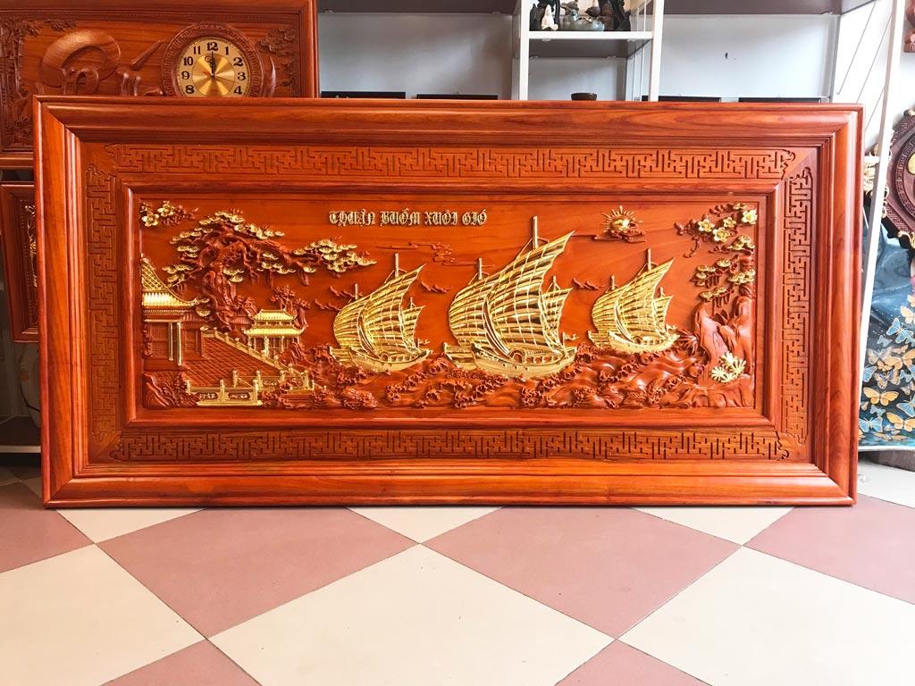 Tranh Gỗ Thuận Buồm Xuôi Gió dát vàng cao cấp 1m97