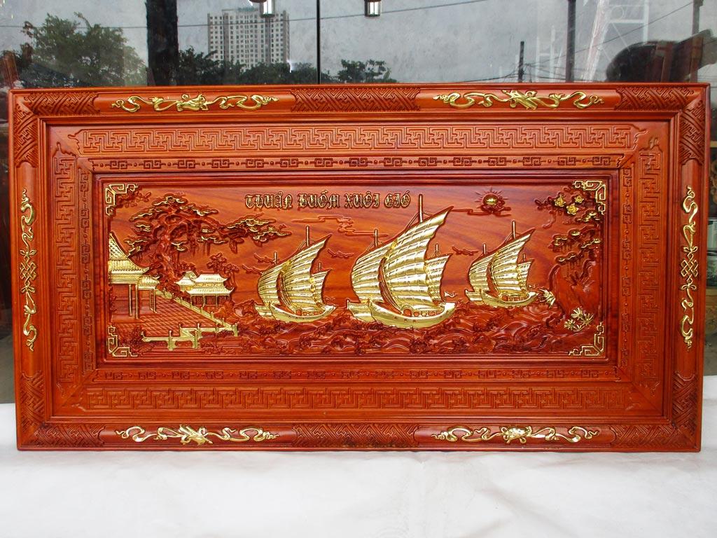 Tranh Gỗ Thuận Buồm Xuôi Gió khung triện dát vàng 1m27