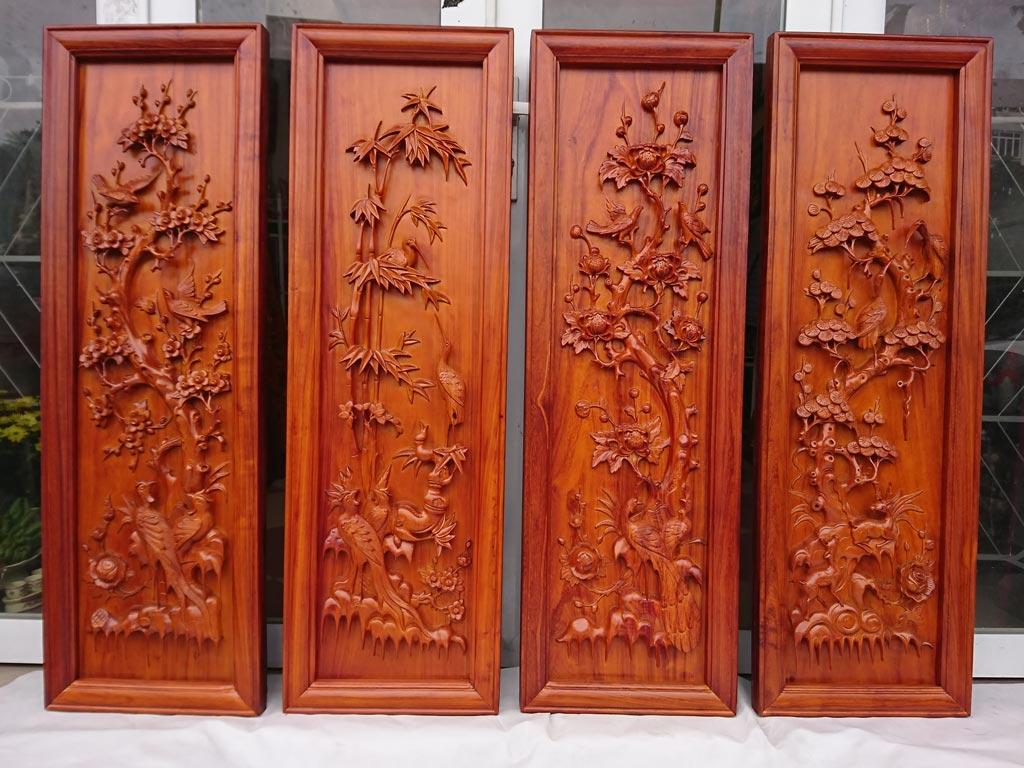 Bộ tranh gỗ hương Tứ Quý đục tay tinh xảo - 2119